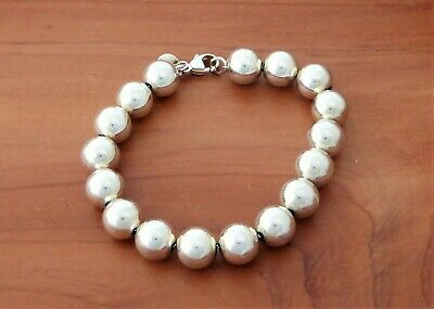 """Authentic TIFFANY & CO. 925 Sterling Silver 10mm Ball Bead Chain Bracelet 7.25"""""""