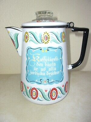 Vintage Enameled Metal Folk Art Percolator StoveTop Coffee Pot Swedish Norwegian