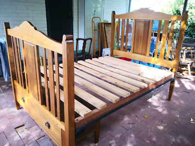 Antique Wooden Double Bed with Draw & Wrought Iron Base.