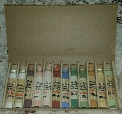 Vintage Powder Glass Painting Kit ~ 12 Glass Vials ~ Lamps by Margaret Lomba