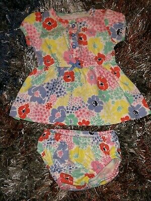 Baby Girls Infants 3 Months Dress Matching Bloomers Pastel Flowers Floral Design