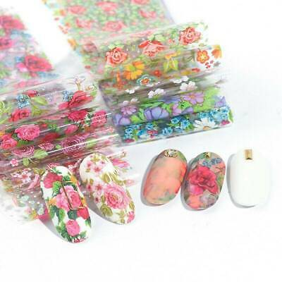 10 Sheets Nail Art Foil Transfer Stickers Decals Flower Pattern Nail Decoration