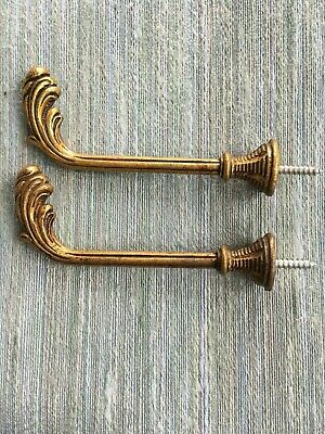 Pair Vintage French Solid Brass Curtain hooks/tie backs. Leaf design 10 cms