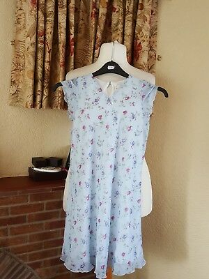 Girls Blue Floral  Summer Dress Age 8 9 10 - M&S -  Great For Holiday