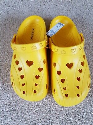 Girls Sunshine Yellow Croc  Heart Shoes From Next - Size 5 - New Summer Holiday