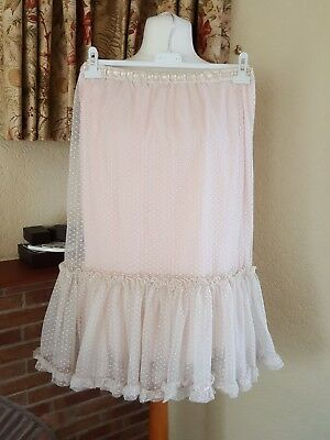 Girls Peach Cream Mesh Skirt Age  10 12 13 Yrs - M&S -  Great For Holiday