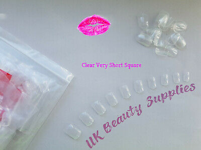 600x Short Square False Nails CLEAR Full Cover Acrylic Nail Tips - UK SELLER