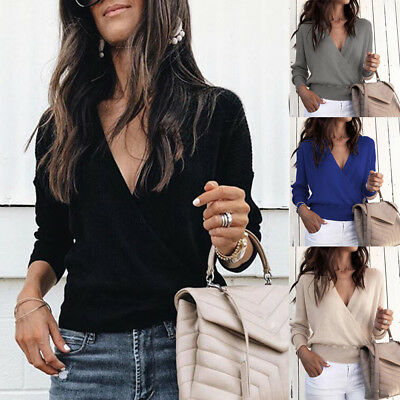 Autumn Sexy Casual Women's V Neck Sweater Ribbed Knitted Pullover Blouse Fashion