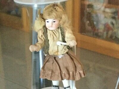 Antique German full bisque doll house doll fully original ca 1800 s + 7 cm ht