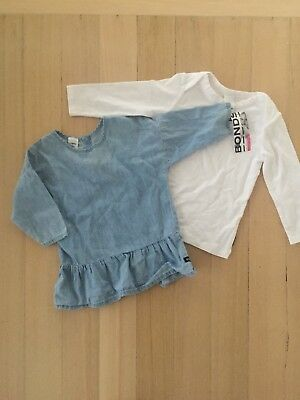 Bonds Bulk X2 Size 00 Baby Girl's Chambray Top & White Basic L-Sleeve Size 0 BN