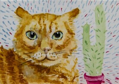 ACEO Original watercolor, ginger cat, cactus, colors, eyes, cute, Olena Voitenko