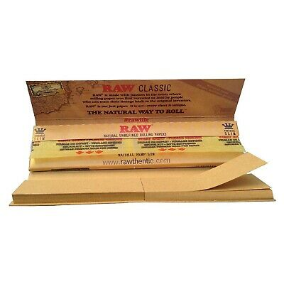 3 X Raw Classic King Size Slim + Tips - Natural Refined Rolling Papers