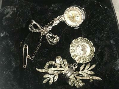 2 OLD VINTAGE ART DECO 1930s MARCASITE SWISS WATCH BROOCH JEWELRY BEAUTY ALGEX