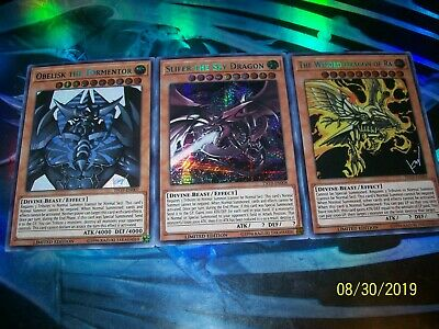 All 3 Egyptian God Cards Slifer + Obelisk + Ra Prismatic Secret Rare Set TN19