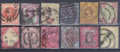Great Britain, 1887-92 Queen Victoria Jubilee Issue,used in mixed condition