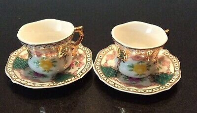 House Of Valentino Pair Mini Tiny Cups Saucers Hand Painted Collectable Vintage