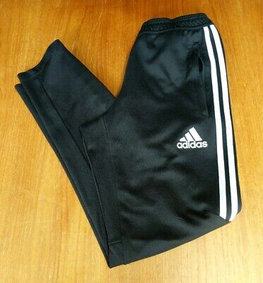 Nice men's Adidas Climacool 3 Stripe black athletic jogger pants, size Small