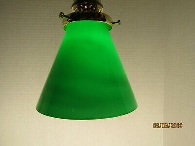 "Vintage Emerald Green Opal Cased 4"" Lamp Shade, Pendant Cone & 2""  fitter"