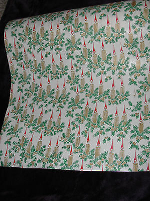 5 Feet Of Vintage Christmas Wrapping Paper Old Fashioned Candles