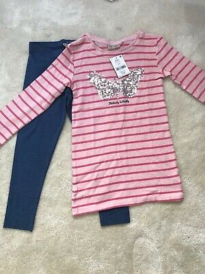Next Girls Butterfly Fleece Tunic and Leggings Set Age 7 Yrs (6-7 Yrs Up to 122c