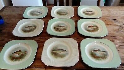 Woods Ivory Ware 9 fish plates and 5 fish platters, vintage art deco