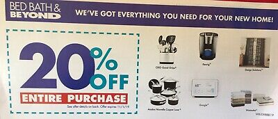 Bed Bath & Beyond 1Coupon 20% off ENTIRE PURCHASE - Exp 11/1- In-Store & Online
