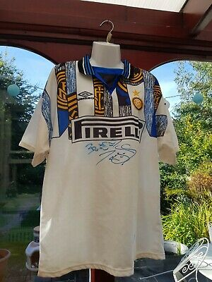 Inter Milan Vintage 1990s Football Top ( large) umbro Shirt / Away Jersey signed