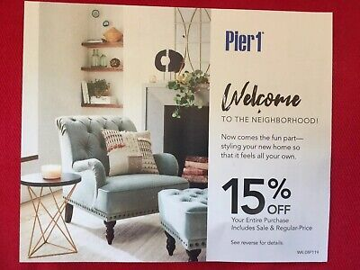 Pier 1 Imports 15% off 1coupon includes sale & regular Price Expires 10/31/2019