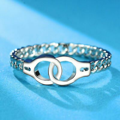 Creative Personalized Chic Link Chain Design 925 Silver Jewelry Handcuffs Ring