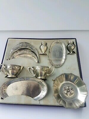 VINTAGE Doll or Child's Antimony Table-Ware Set Complete w/original box #2076