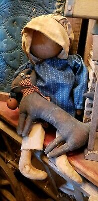 Primitive Early Doll In Old Blue Calico with kitty cat