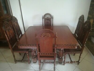 Antique Dining Set  Oak Flamandish Origin 1840 Age