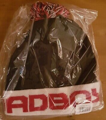 Bad Boy Bobble Beanie Red white terraces football hat wool bobble Arsenal fan