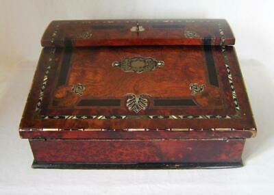 Fine Antique Victorian Burr Walnut Inlaid Writing Slope Box with key: to restore
