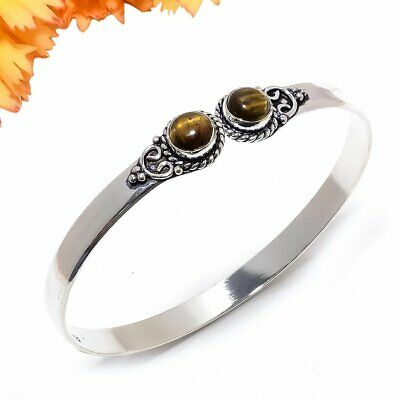 Tiger'S Eye Gemstone 925 Sterling Silver Jewelry Cuff Bracelet Adst. 7931