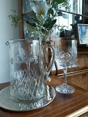 Large Antique Victorian Cut Glass and etched Water Jug