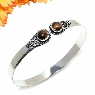 Tiger'S Eye Gemstone 925 Sterling Silver Jewelry Cuff Bracelet Adst. 6669