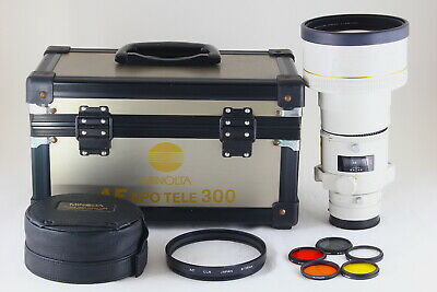 [AB- Exc] Minolta AF APO TELE 300mm f/2.8 Lens w/Trunk, Hood, Filters JAPAN 5297