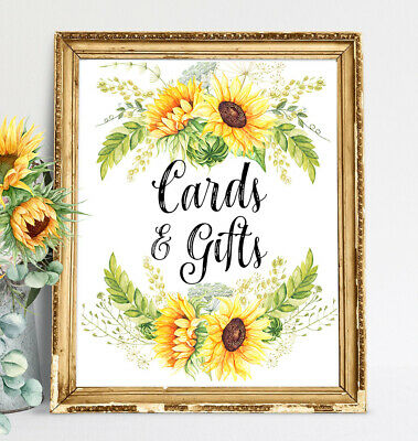Sunflower~Cards and Gifts Sign Rustic//Chalkboard Wedding sign Party Signage 8x10