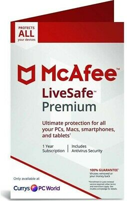 McAfee Livesafe Premium 1 Year Unlimited Devices Windows/Mac/iOS/Android