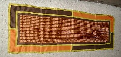 """Sally Gee Scarf Brown Orange Yellow About 15"""" x 43"""""""