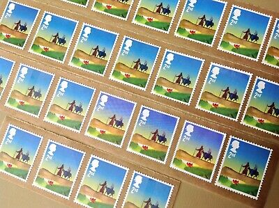 25 X 2Nd Class Unfranked Stamps Self Adhesive Easy Peel F/V £15.25