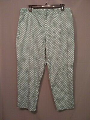 Women's ROZ&ALI Ankle Crop Capri Chino Pants sz 18W Teal squares Stretchy s523