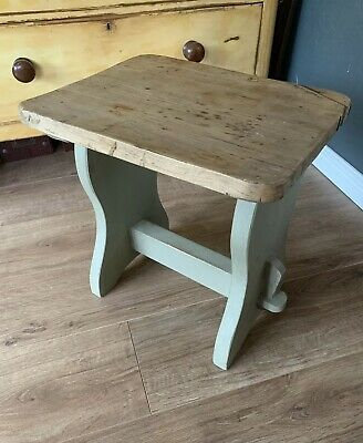 Antique Large Painted Wooden Farmers Milking Stool