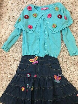 Girls Mim Pi Size 8 / 128 Outfit Denim Skirt and Blue Sweater With Flowers EEUC