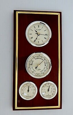 William Widdop Weather Station With Clock, Barometer, Thermometer & Hygrometer.