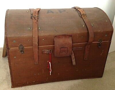Antique dome topped steamer trunk flying stork label interior shelf & Lock & key