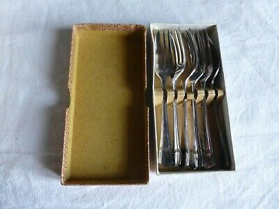 Vintage set of 6 piece EPNS Silver Plated table Cake Forks in Original Box