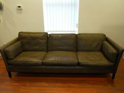 Rare VTG Mid century Danish Morgenson 3-4 seat / Long seater Brown leather sofa