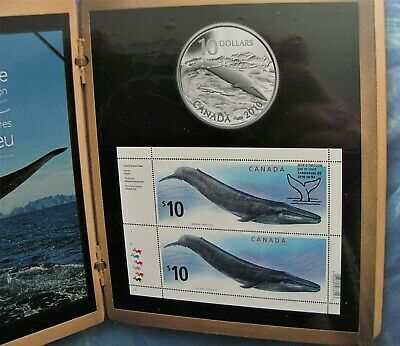 2010 THE BLUE WHALE & $10.00 Silver Coin & 2 $10.00 Stamps SEALED PROOF #6956